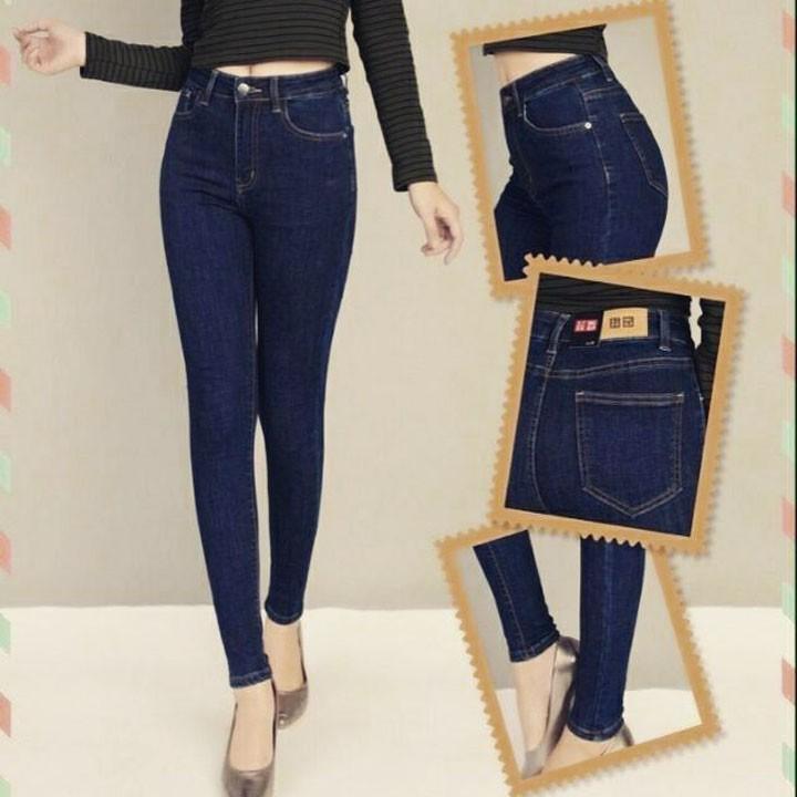 Quần jean nữ màu xanh đen
