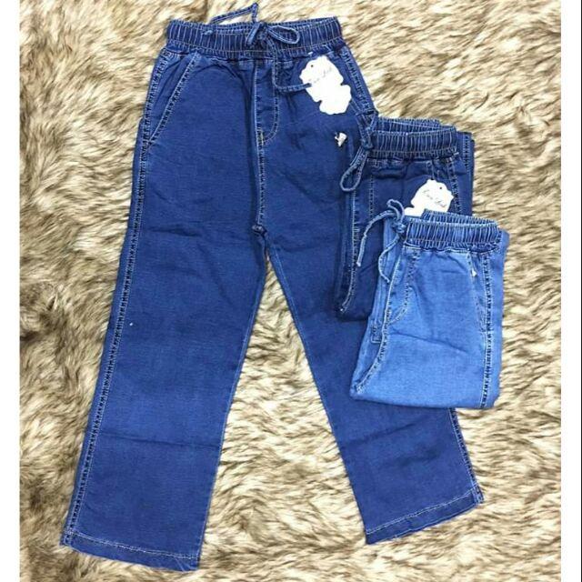 Quần jeans nữ ống rộng lưng thun l, quần ống rộng thắt nơ lưng thun, quần jeans dài ống rộng cao cấp