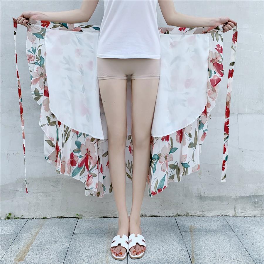 Chân Váy Dài Vải Voan In Hoa Thiết Kế Lệch Tà Cá Tính Cho Nữ