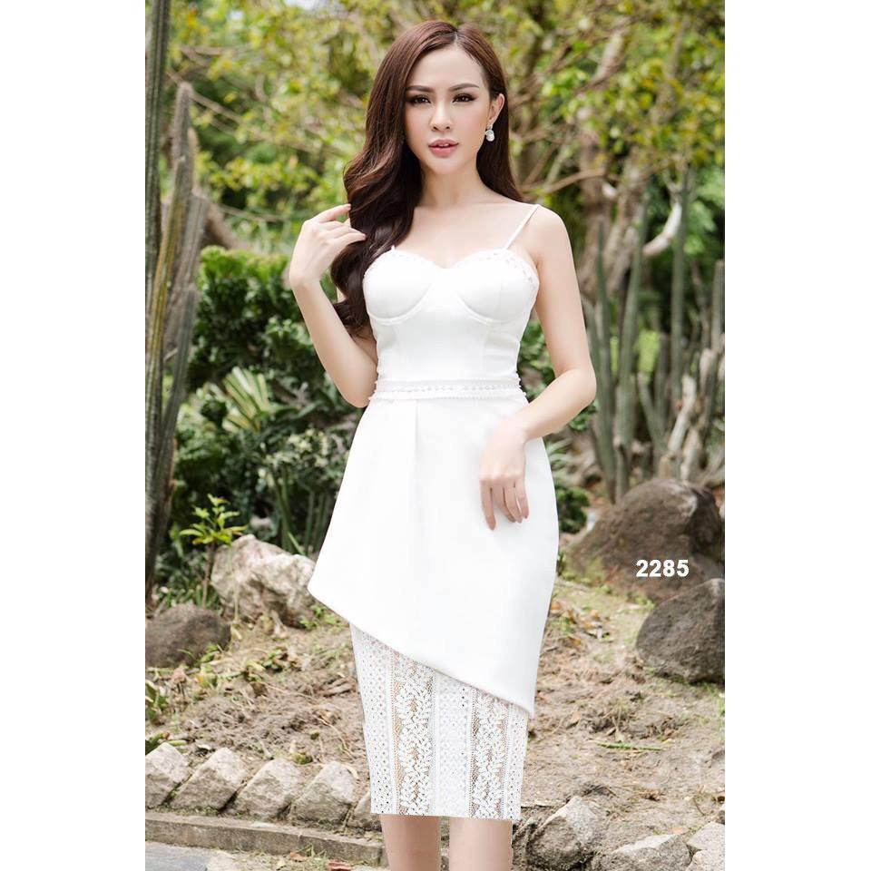 Đầm trắng hai dây chân váy phối ren 2285