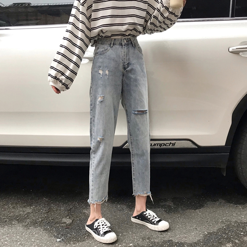 Quần Jeans Lửng Lưng Cao Ống Rộng Thời Trang Cho Nữ