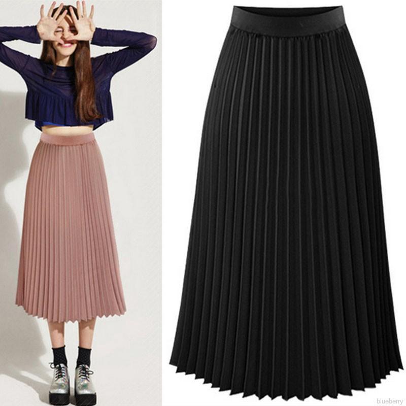 Chân váy midi lưng cao thiết kế đơn giản hợp thời trang