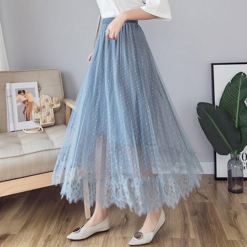 Chân Váy Dài Phối Ren Xinh Xắn Dành Cho Nữ 2020