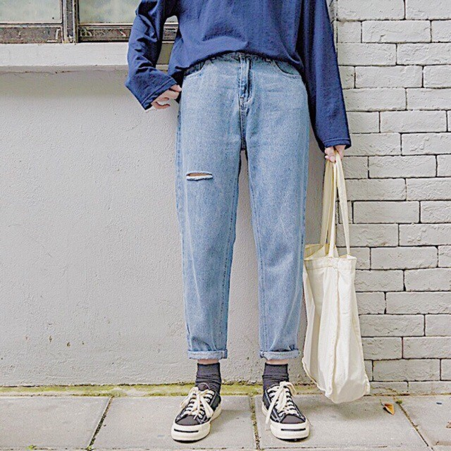 quần jean baggy rách cực chất unisex