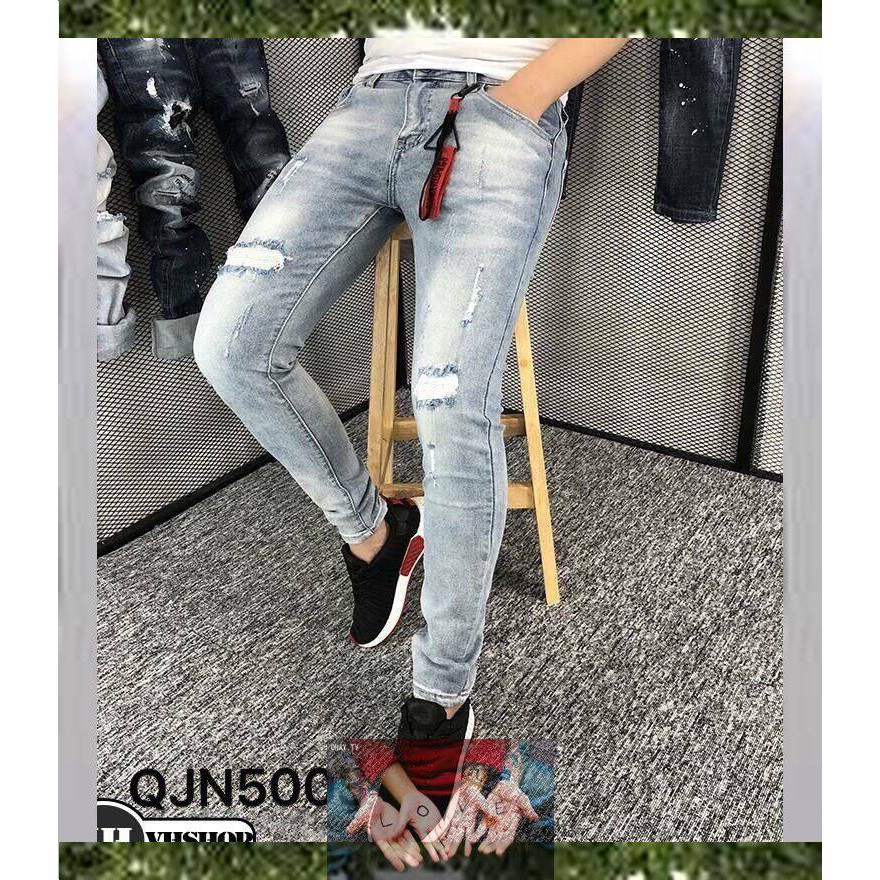 Quần Jean Nam Phong Cách Hàn Quốc Co Giãn Không Ra Màu,quần jean nam rách đẹp