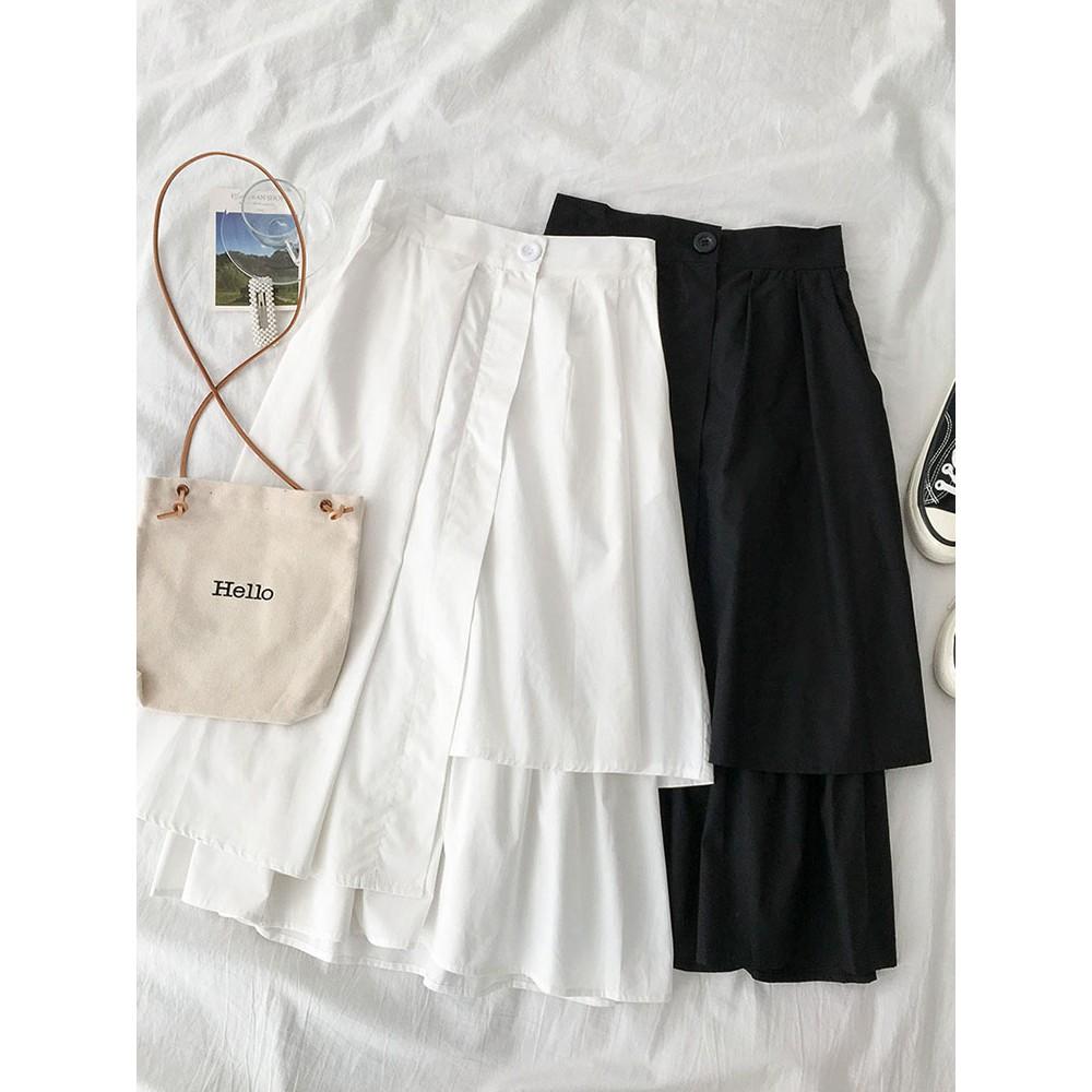 Chân váy xòe dài tầng thiết kế cạp khuy (ORDER)