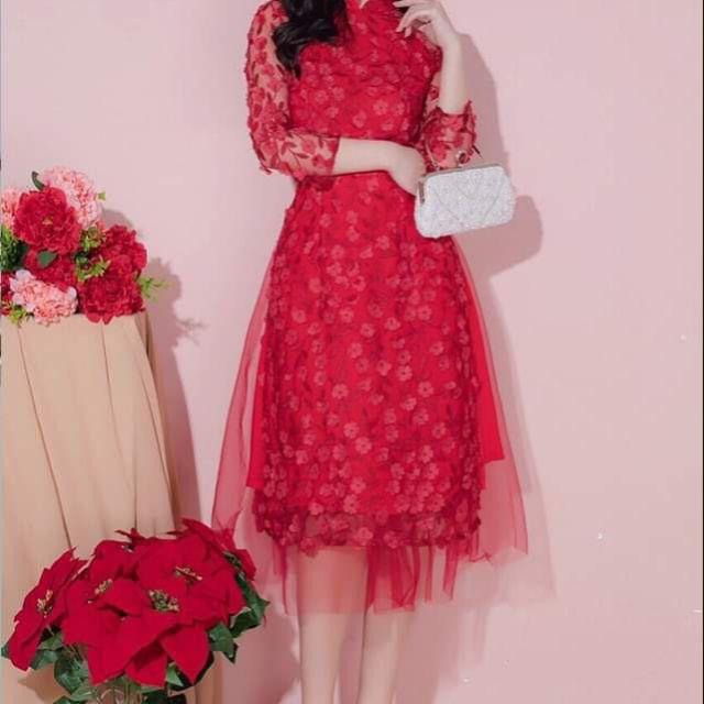 Áo dài cách tân hoa đỏ cực đẹp