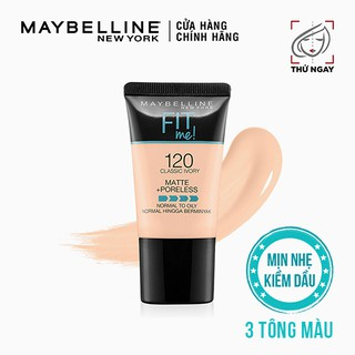 Kem Nền Mịn Nhẹ Kiềm Dầu Fit Me dạng tuýp Maybelline New York Matte and Poreless Foundation Tube 18ml