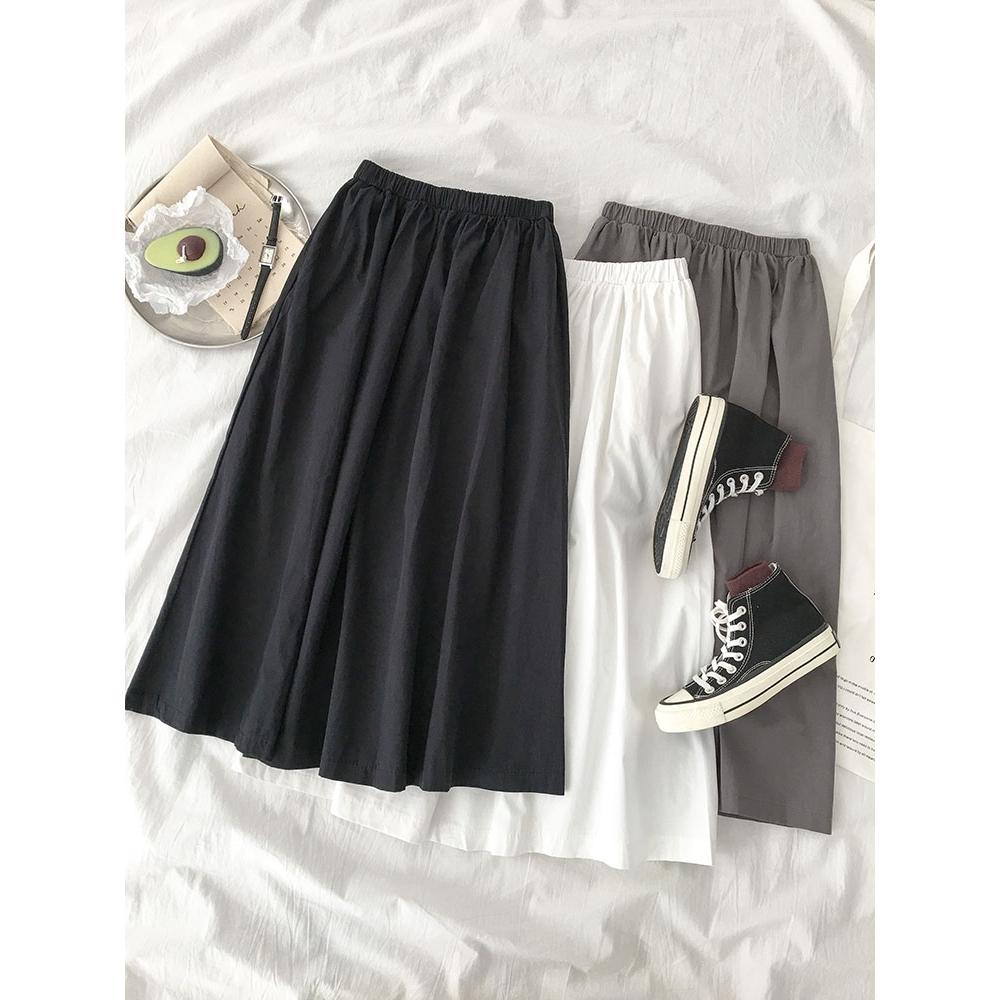chân váy dài lưng cao chất liệu co giãn cho phái nữ