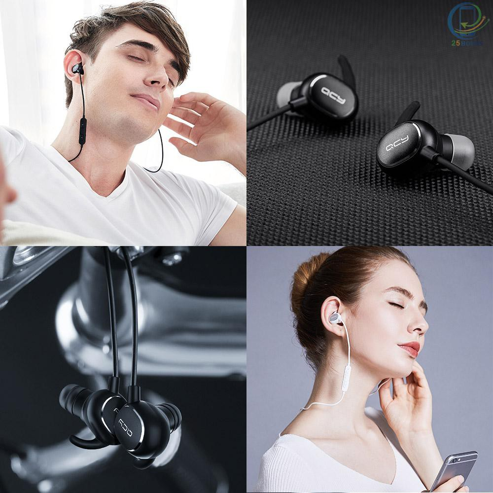 25hours Original Xiaomi QCY QY19 BT Headset In-ear Sports Stereo Headphone Mini Sports Earphone Hands-free with Microphone for Android iOS iPhone Smartphones