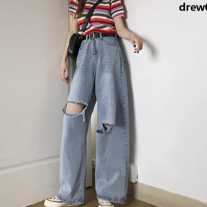 Quần Jeans Rách Ống Rộng Thời Trang Cá Tính Cho Nữ