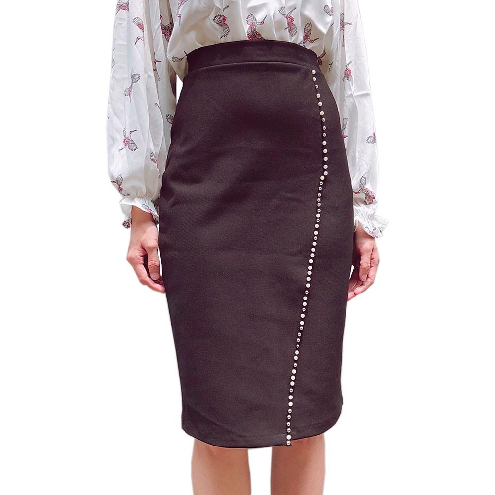 Chân váy đắp chéo bigsize thun umi co dãn ôm body đóng hột - chân váy đắp chéo size đại ôm body từ 45kg-80kg