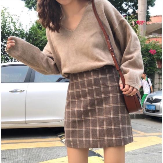 Chân Váy Len Chữ A Lưng Cao Phong Cách Hàn Quốc Cho Nữ