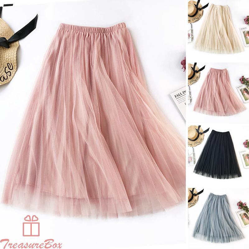 Chân váy maxi dài vải tuyn xuyên thấu thời trang nữ tính