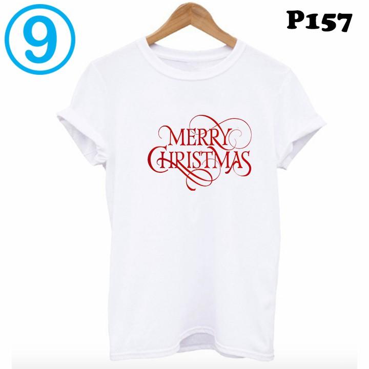 áo thun nam nữ màu trắng in chữ MERRY CHRISTMAS P157