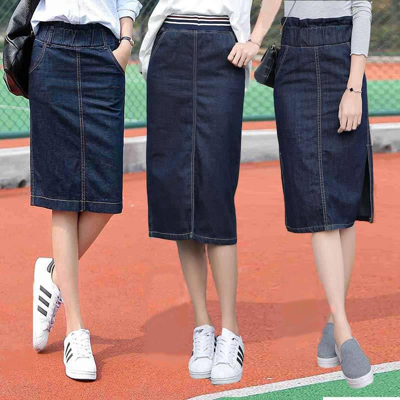 Chân váy denim dài lưng cao trẻ trung năng động cho nữ