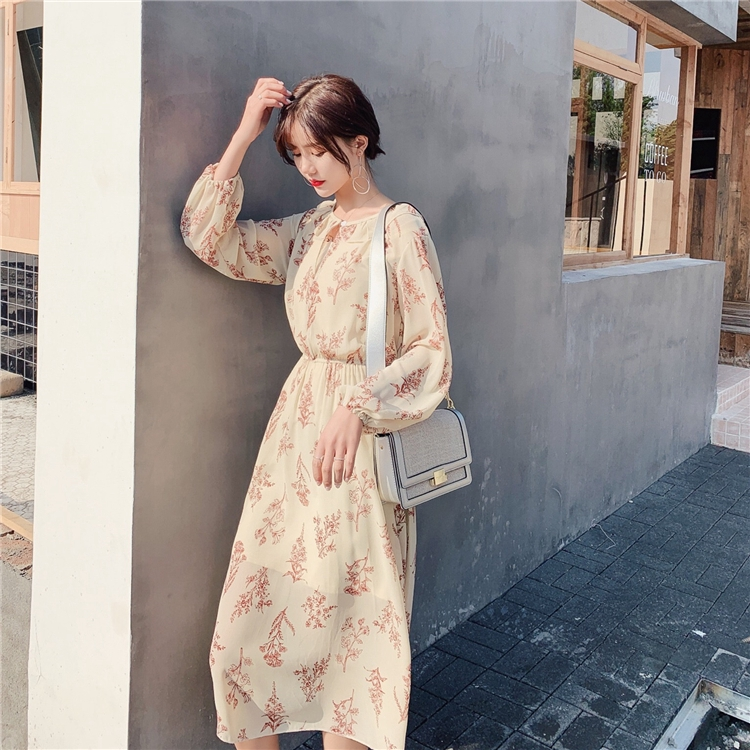 2019 Korean New Puff Sleeve Floral Chiffon Dress
