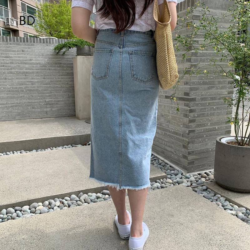 Chân Váy Denim Lưng Cao Phong Cách Cổ Điển Cho Nữ