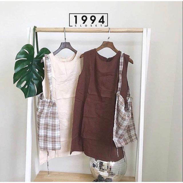 Set đầm nâu + túi tote ❤️