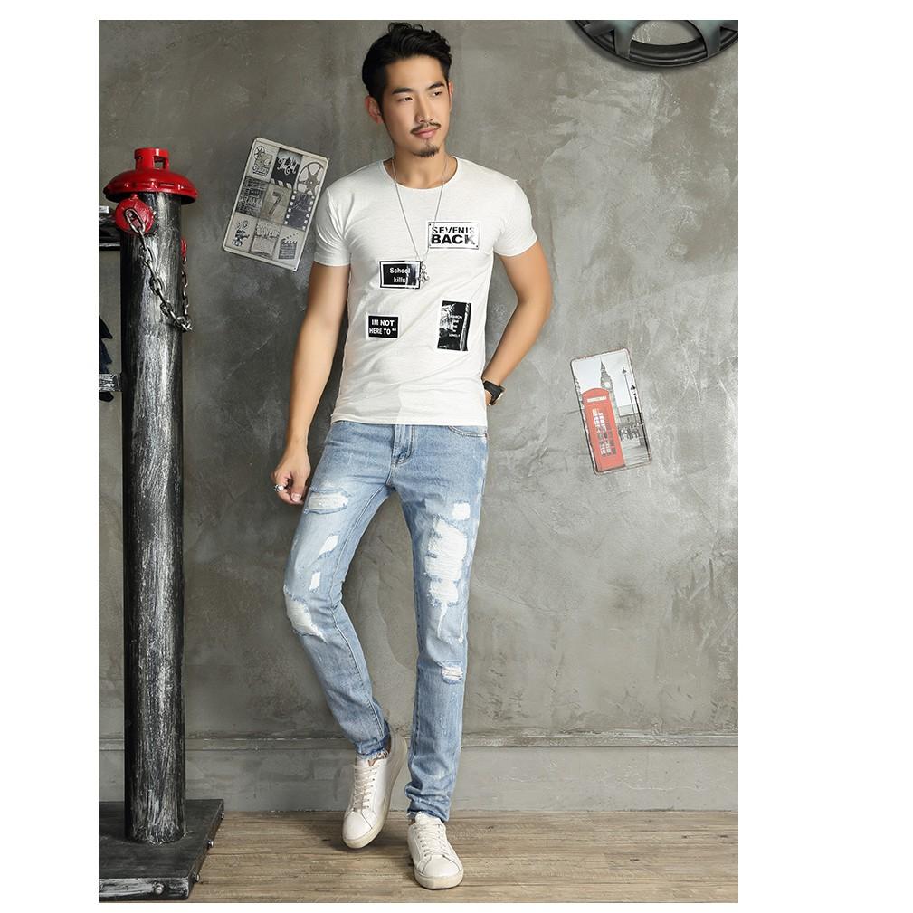 Quần Jean xanh nhạt ống suông kiểu rách xước mang phong cách Hàn Quốc chất liệu vải bò cao cấp hợp xu hướng thời trang