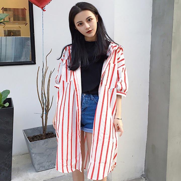 Thời Trang Nữ, áo khoác dáng dài sọc đứng