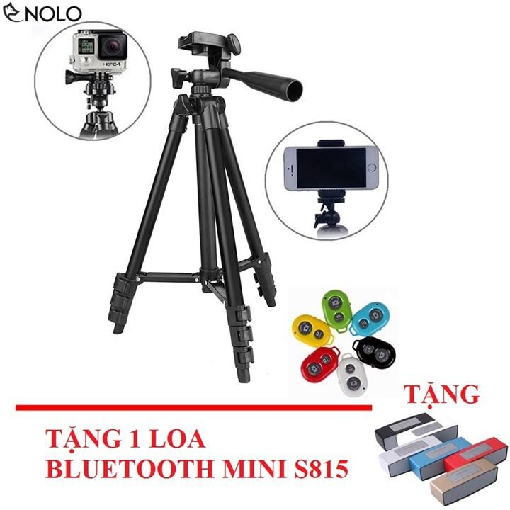 Combo Tripod Hợp Kim Kèm Remote Cho Điện Thoại Tặng Loa Bluetooth Mini