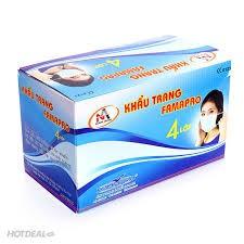 Hộp 50 cái khẩu trang y tế kháng khuẩn 4 lớp lọc (Xanh) (FAMAPRO) (Hộp 50 Cái)