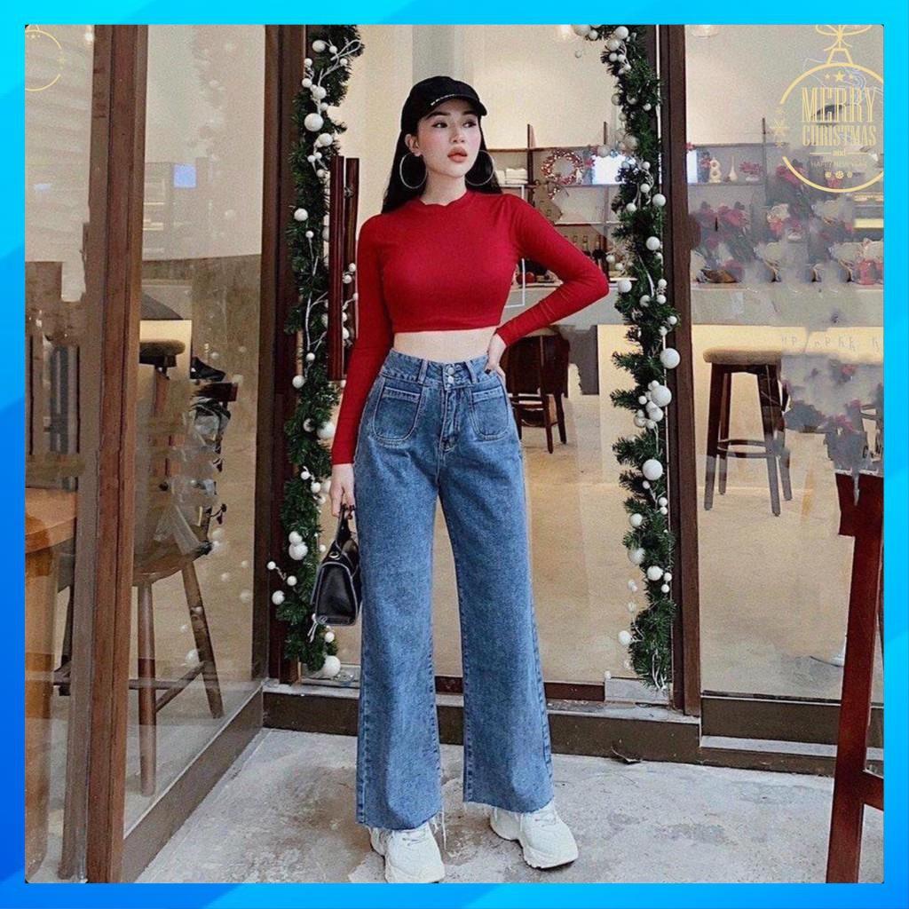 [MAY KỸ] [ẢNH THẬT+VIDEO] Quần Jean Ống Suông Túi Tròn Hot Trend - Quần Jean Nữ Cao Cấp Mã OH01