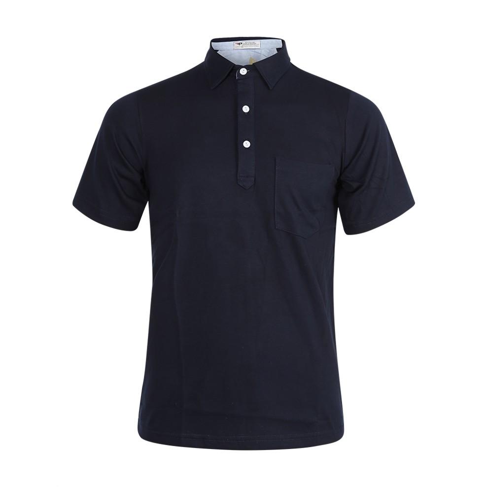 Áo thun nam cổ bẻ có túi chất cotton PPG18 (xanh đen)