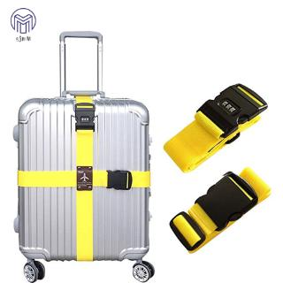 Hình ảnh SJMW Detachable Cross Travel Luggage Strap Packing Belts Suitcase Bag Security Straps with Lock
