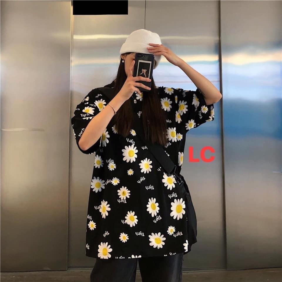 Áo phông hoa cúc nhỏ, áo nam, áo nữ, áo thun form rộng, chất cotton