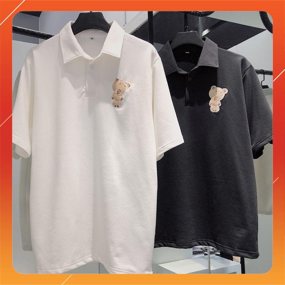 [SALE OFF 50%] Áo POLO Tay Lỡ TEDDY Unisex ( Trắng/Đen ) , áo thun tay lỡ, quần kaki