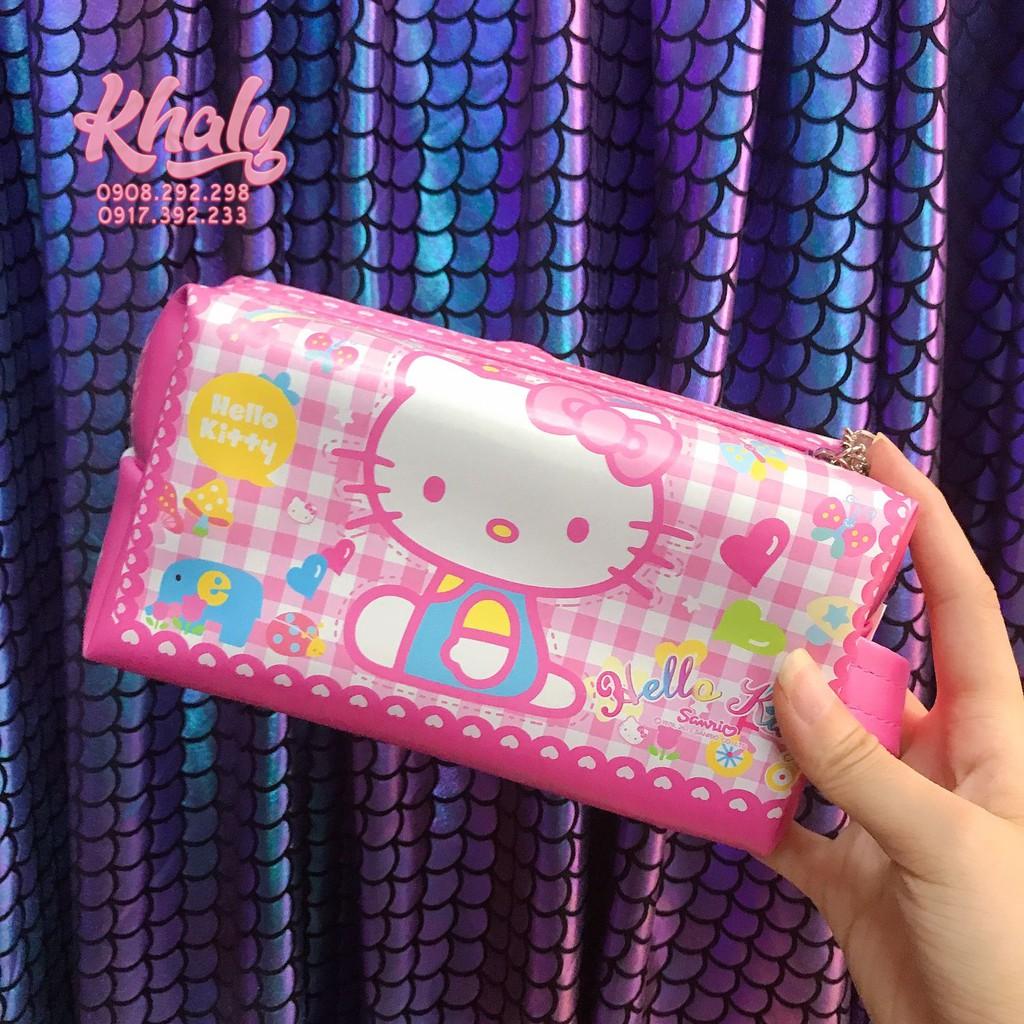 Hộp Bút Bóp Viết Da Hình Mèo Hello Kitty Sọc Caro Tim Màu