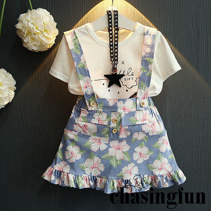 Set áo thun ngắn tay + chân váy hoa dễ thương cho bé gái