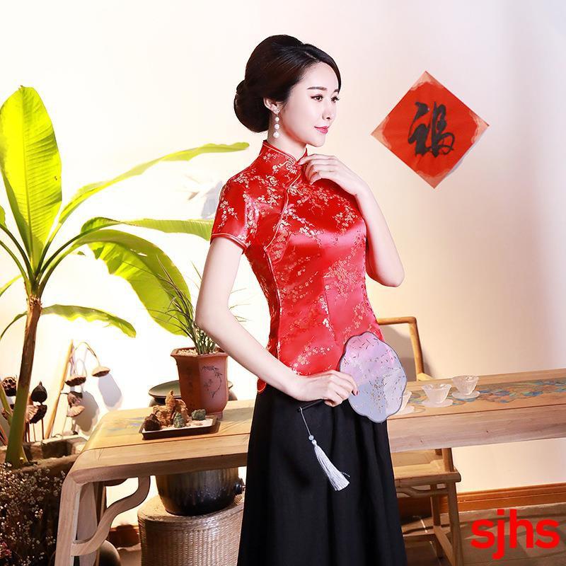 Đầm sườn xám màu đỏ tay ngắn chân váy trơn hoa văn cổ điển cho nữ