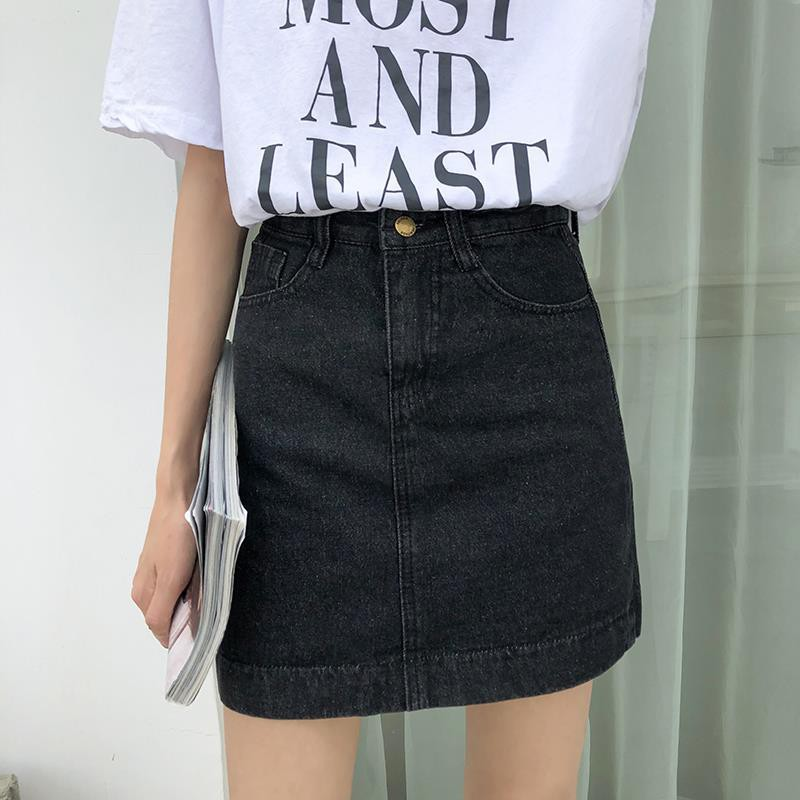 Chân Váy Jeans Lưng Cao Phong Cách Hàn Quốc Thời Trang Cho Nữ
