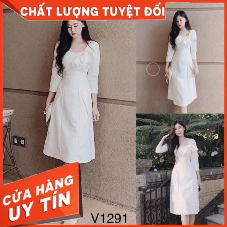 [Váy đầm] Đầm kate Nhật trắng V1291 dáng suông Mie Design kèm ảnh thật