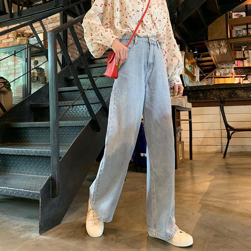 Quần jean dài kiểu Hàn Quốc ống rộng cá tính