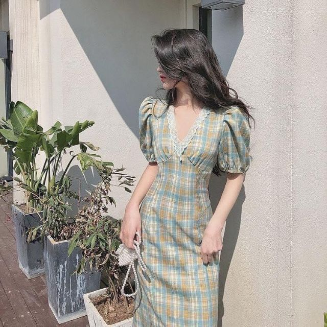 3737084589 - Đầm váy nữ đầm midi caro cổ V viền ren thanh lịch
