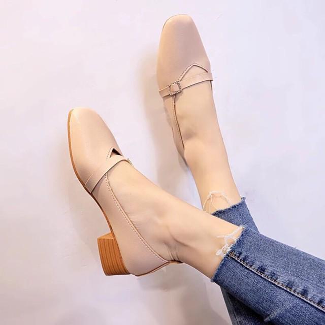 Giày 3 phân đá vuông