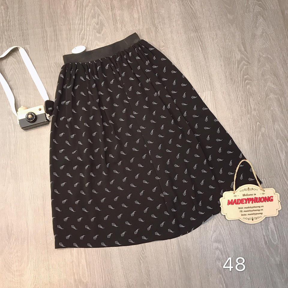 Chân váy midi nhiều màu - họa tiết đen trắng