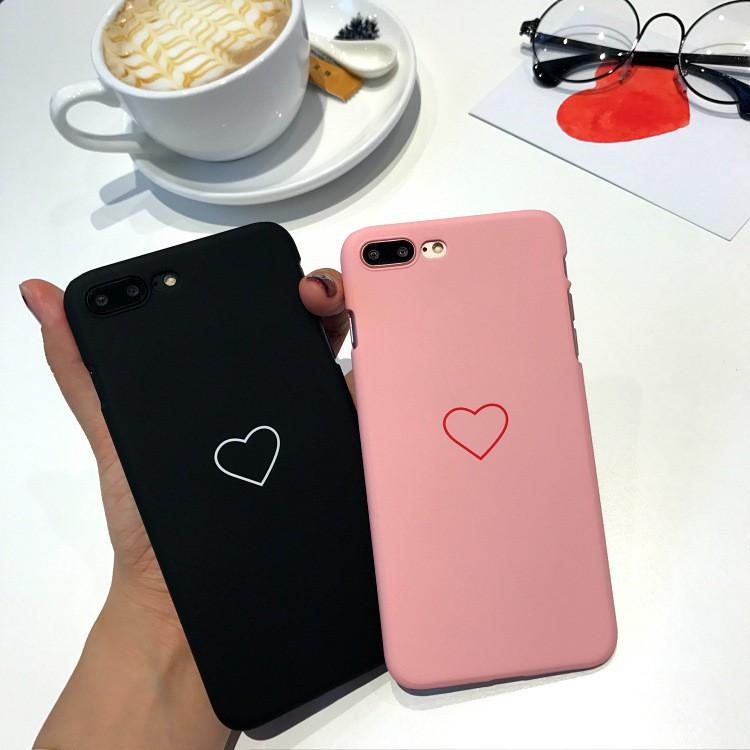 Ốp lưng nhựa cứng cho iPhone 6 6s 7 8 X Plus 6Plus hình trái tim