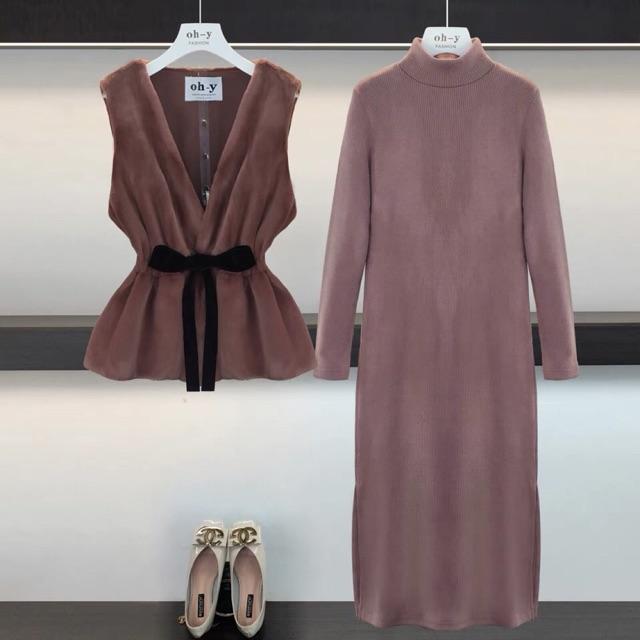 Set váy len và áo khoác lông cao cấp