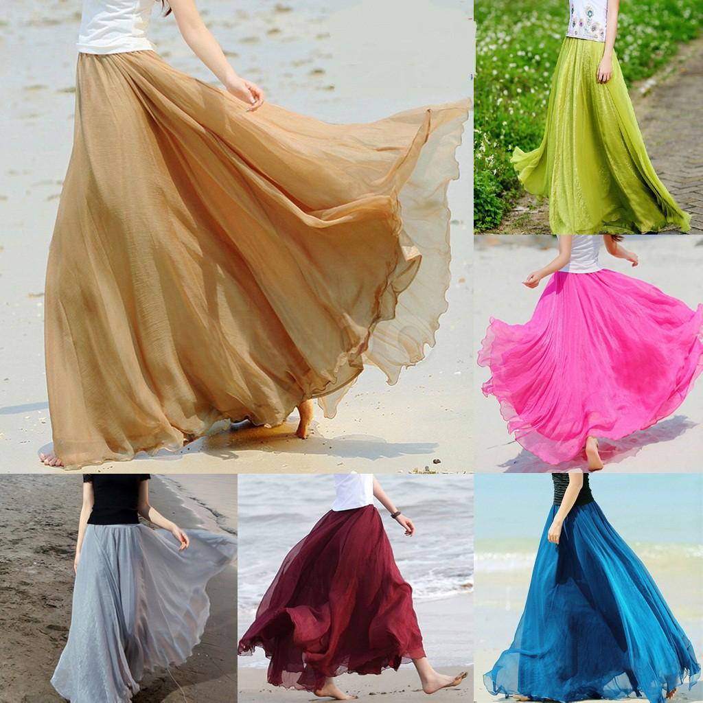 Chân váy chiffon dài màu trơn thời trang biển cho nữ