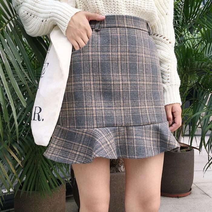 (hàng có sẵn) đầm mini nữ tay dài họa tiết caro