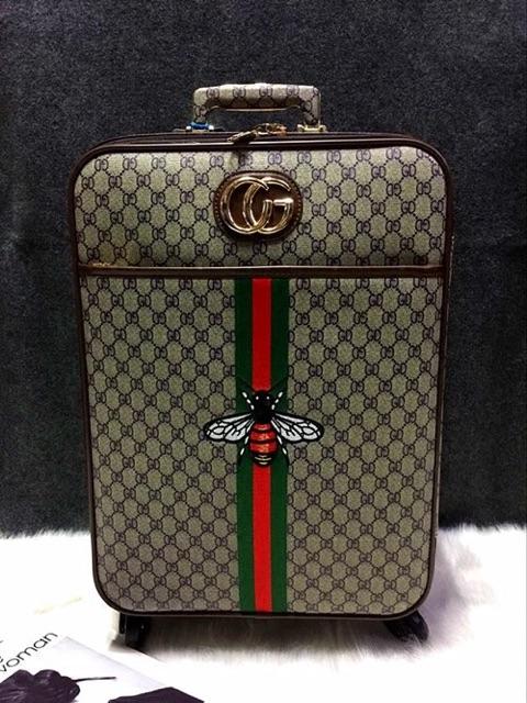 Bộ 2 chiếc (size 20 + túi 14) Vali kéo GUCCI da cao cấp sang trọng, thời trang