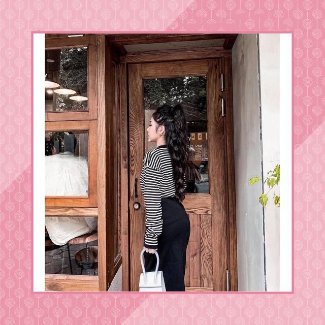 [First Love] 16S21B1 Set áo thun tay dài kẻ sọc ngang và chân váy ôm dài dây rút