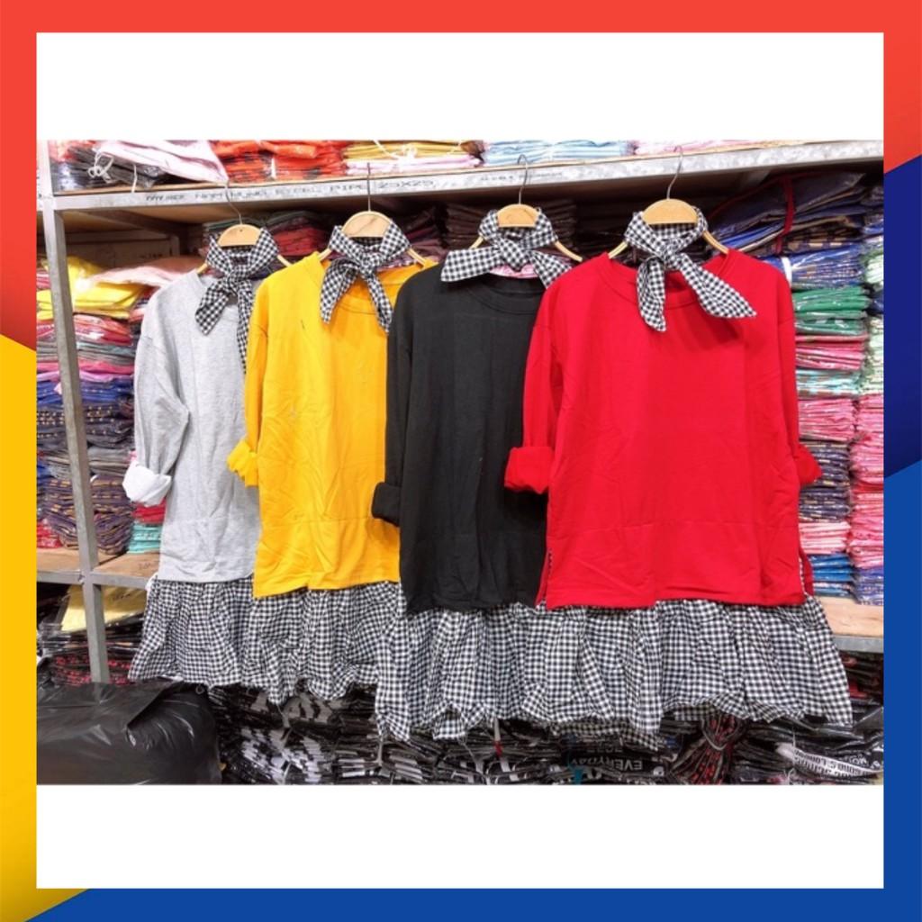 4417138719 - Set đầm phối áo đín nơ siêu kute