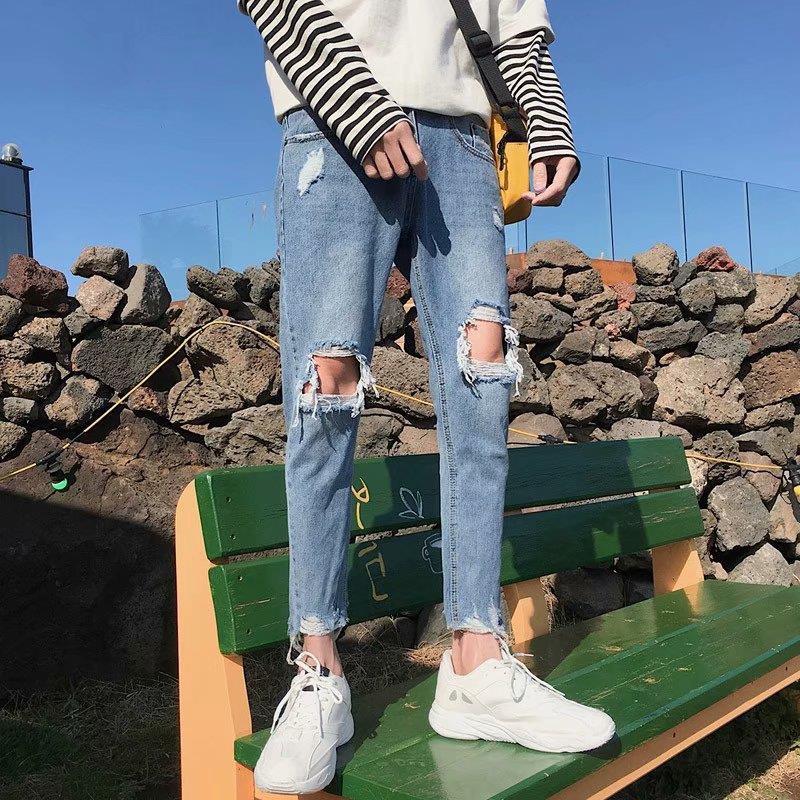 Quần Jeans Rách Ống Rộng 9 Tấc Thời Trang Cá Tính