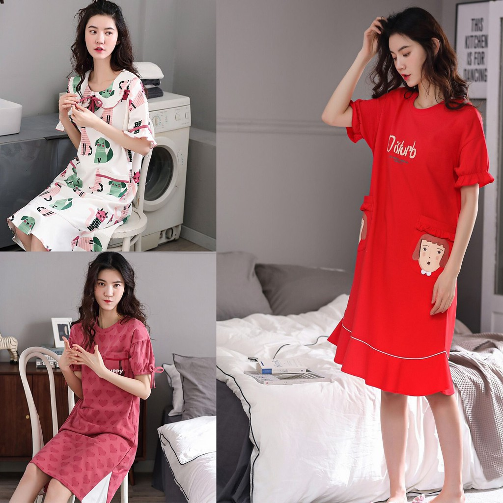 Đầm nữ đầm mặc nhà vải Cotton 100 thống thoáng - phong cách trẻ trung & cá tính (Full size)